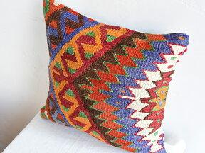 キリムクッションカバー40cm角・トルコ手織りキリム/ヴィンテージ・オールドKilimCushionエシュメ・色鮮やかなジグザグ