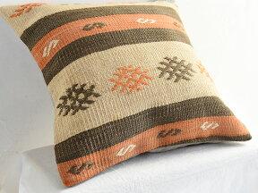 キリムクッションカバー40cm角・トルコ手織りキリム/ヴィンテージ・オールドKilimCushionコンヤ・ストライプにジジム