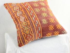 キリムクッションカバー40cm角・トルコ手織り/ビンテージウール100%フェティエ・色あせたレッド・ジジムのベレケット