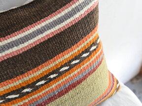 キリムクッションカバー40cm角・トルコ手織りキリム/ヴィンテージ・オールドKilimCushionパステルのストライプ