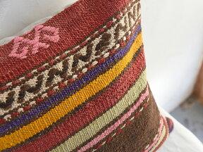 キリムクッションカバー40cm角・トルコ手織りキリム/ヴィンテージ・オールドKilimCushionカラフルなストライプ