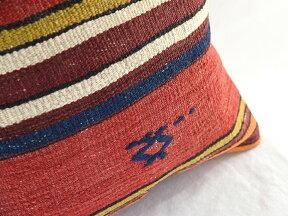 キリムクッションカバー40cm角・トルコ手織り/ヴィンテージウール100%コンヤ・シンプルなストライプ