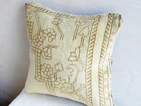 ヴィンテージ・パイル織りラグクッションカバー40cmサイズトルコ絨毯・ブリーチしたアンティーク加工
