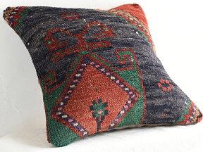 ヴィンテージ・パイル織りラグクッションカバー40cmサイズトルコ絨毯・トライバルラグ
