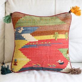 ギャッベ キリム クッションカバー 45cm角カシュカイ族の手織り 鳥と植物