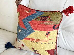 ギャッベキリムクッションカバーイラン製ウール100%45cm角
