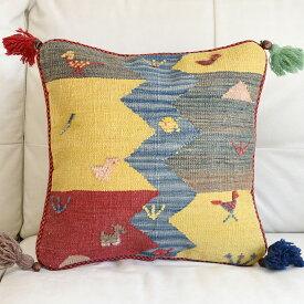 ギャッベ キリム クッションカバー イラン製 ウール100% 45cm角カシュカイ族の手織り 鳥と川