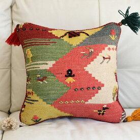 ギャッベ キリム クッションカバー イラン製 ウール100% 45cm角カシュカイ族の手織り 人と鳥