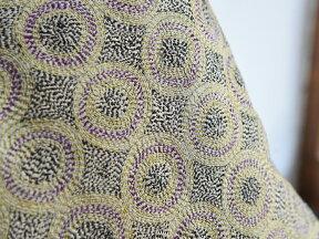 シルク・カンタ刺繍クッションカバー50cmサイズ刺し子布モスグリーン/イエロー・パープル/ドットパターン