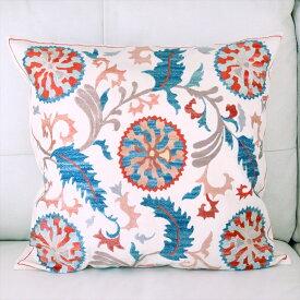 クッションカバー50cm角 ウズベキスタンスザンニ suzani シルクの手刺繍華やかな花模様