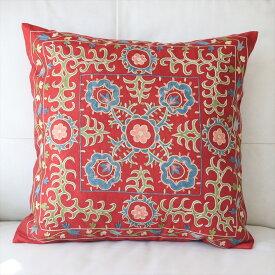 クッションカバー50cm角 ウズベキスタンスザンニ suzani シルクの手刺繍レッド/花模様