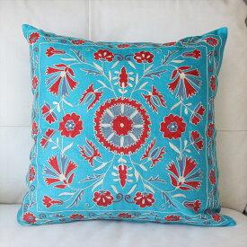 クッションカバー50cm角 ウズベキスタンスザンニ suzani シルクの手刺繍ターコイズ/花模様