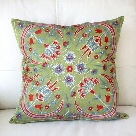 クッションカバー50cm角 ウズベキスタンスザンニ suzani シルクの手刺繍グリーン/花模様