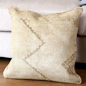 ヴィンテージ・パイル織りラグ クッションカバー50cmサイズ トルコ絨毯/ブリーチ・アンティーク加工・パステルカラー