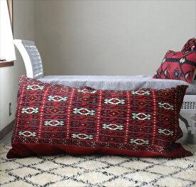 トルクメン・ヤムート/オールドキリム・クッションカバー・収納袋チュアル126x66cm・表と裏が手織りのキリム赤いジジムのキリム/中綿特注・別売り