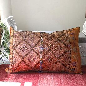オールドキリム・クッションカバー・収納袋チュアル・表と裏が手織りのキリム130x91cm/ダイヤのジジム&パイル飾り/オレンジ・パープル・ライトグリーン