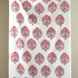 木版ブロックプリントの布 カラムカ-リ kalamkari/マルチクロス・テキスタイル 410×110cmブ-ケ・花束のモチ-フ