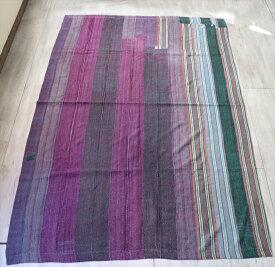 インド カンタ刺繍・パッチワーク/ラリーキルト 古布・ヴィンテージファブリックパープルグラデーション Kantha embroidery, India