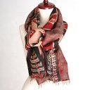 インドの古布・カンタ刺繍・シルクストール Kantha embroidery, India/刺し子・赤と緑の刺繍/イカット模様
