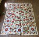 ウズベキスタン刺繍布 スザニ シルクの手刺繍スザニ スザンニ・アンティークリプロダクション咲き競う花