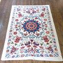 スザンニ・アンティークリプロダクション155×108cm太陽のような大輪の花/ウズベキスタン・シルク手刺繍
