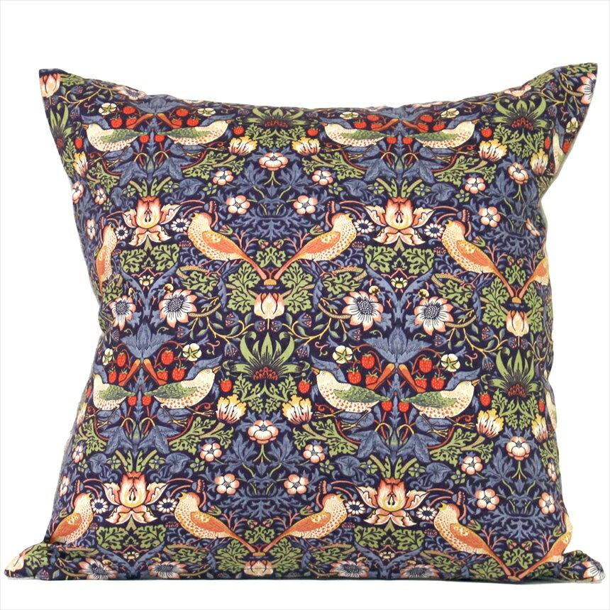 クッションカバー45x45cm コットン/麻 ウィリアム・モリス/ストロベリーシーフ(William Morris Strawberry Thief)パープル コットン100%日本縫製