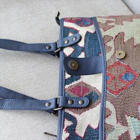 オールドキリムバッグ・サイドポケット付きトート・鳥の羽のモチーフ