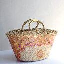 Morocco Marche Bag モロッコのかご・マルシェバッグ/ピンク&ゴールド・花の刺繍/Lサイズ・巾着内布付き幅43cmx本体の高さ23cmxマチ16…