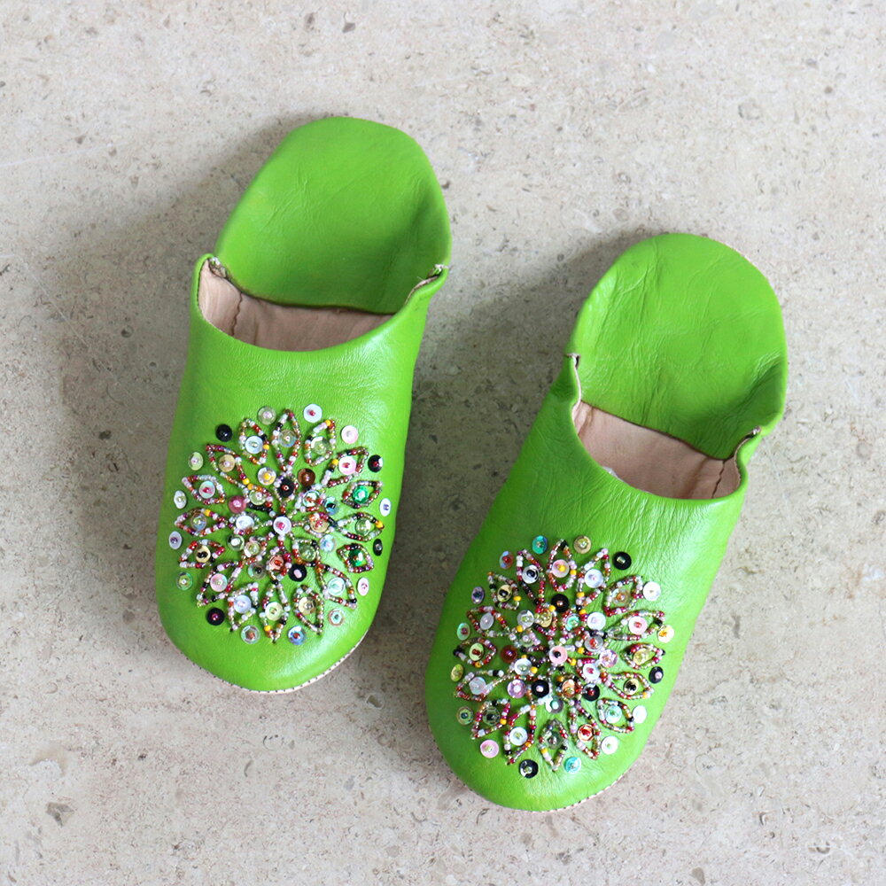 Morocco Babouche バブーシュ・ビーズ/イエローグリーン&ミックスカラー/24cm/Moroccan Slippers/バブーシュ・レザー・スリッパ/革のスリッパ/羊革/モロッコ製