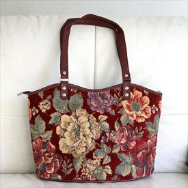 ショルダーバッグ・スクエア/トルコ製ファブリック&合成皮革大きな花のモチーフ・鮮やかなレッド