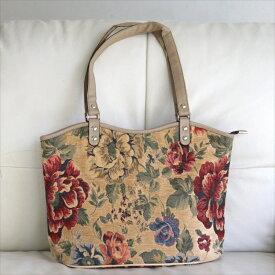 ショルダーバッグ・スクエア/トルコ製ファブリック&合成皮革大きな花のモチーフ・ベージュ