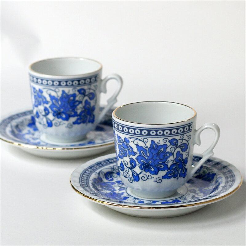 エスプレッソ・デミタスコーヒーカップ&ソーサー珍しい小さめ椀皿トルココーヒー用 2客セット ブルーフラワー