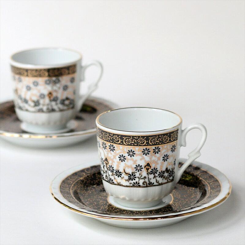 エスプレッソ・デミタスコーヒーカップ&ソーサー珍しい小さめ椀皿トルココーヒー用 2客セット ゴールデンホーンハリチ/ブラック