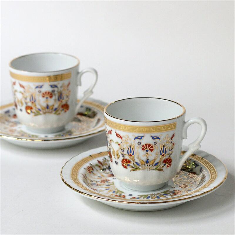 エスプレッソ・デミタスコーヒーカップ&ソーサー珍しい小さめ椀皿トルココーヒー用 2客セット カーネーション