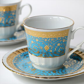 トルココーヒー用カップ&ソーサー2客セットK:ゴールデンホーンハリチ/ターコイズ