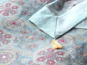 ベッドカバー(ベッドスプレッド)シングルサイズ/サマルカンドターコイズ/スザンニ刺繍をアレンジしてシュニール素材ファブリックに