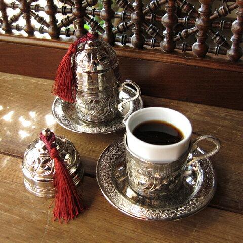 トルココーヒーカップ&ソーサー銅製カバー付2客セットシルバー(フリンジは3色から選べます)・トルコお土産