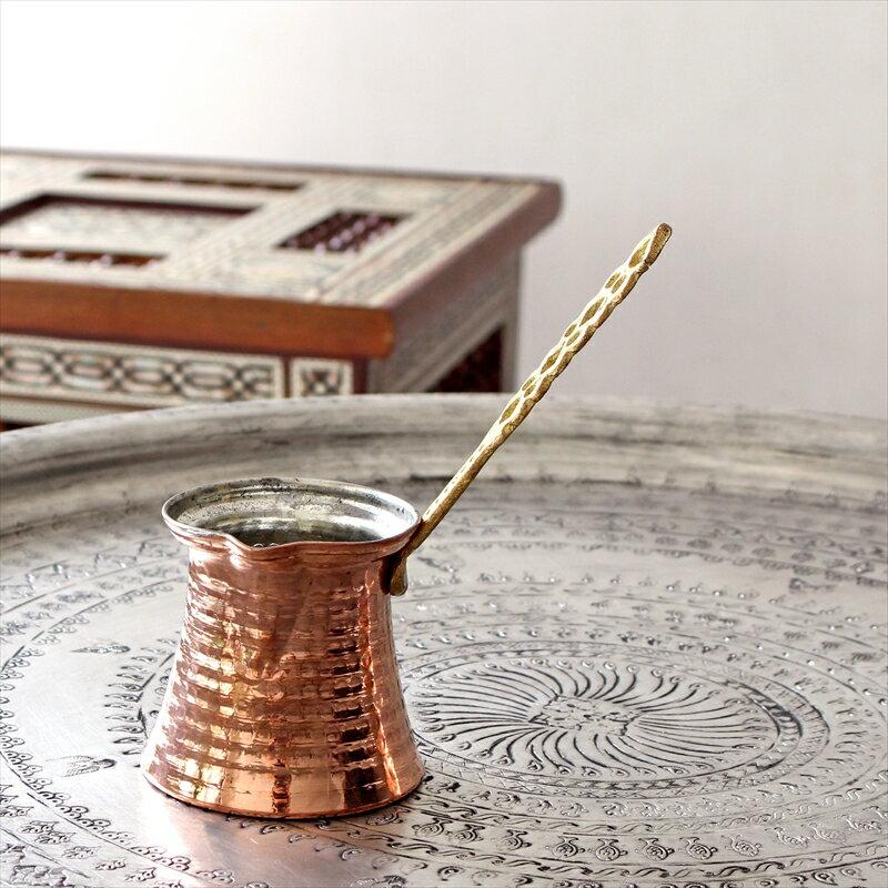 ジェズベCezve・ブロンズ(銅製)Mサイズ直径7.5cm・高さ7.5cm/トルココーヒーを沸かすための小さな鍋【トルコお土産】