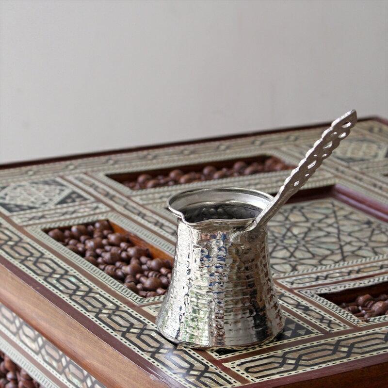ジェズベCezve・シルバー(銅製)Mサイズ直径7.5cm・高さ7.5cm/トルココーヒーを沸かすための小さな鍋【トルコお土産】