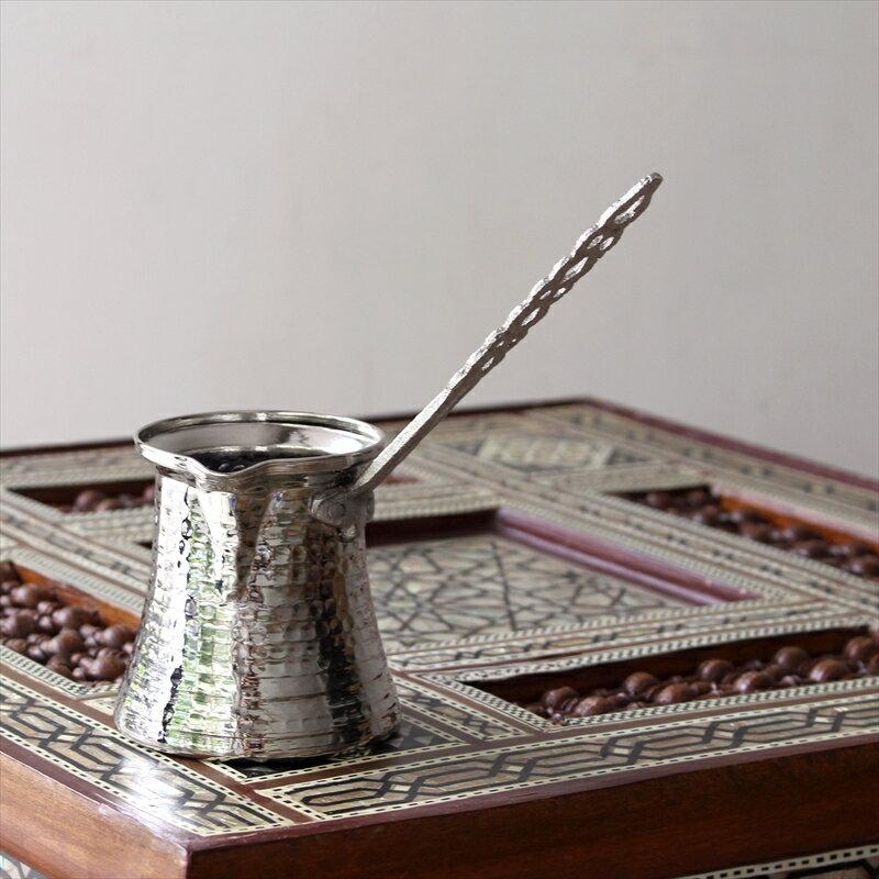 ジェズベCezve・シルバー(銅製)Lサイズ直径8.0cm 高さ8.5cm/トルココーヒーを沸かすための小さな鍋【トルコお土産】