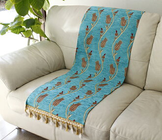 Table runner/bed throw Tulip turquoise Turkey made chenille material