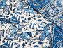ペルシャ更紗・ガラムカール280cm長方形ブルー系・馬に乗る人の柄/コットンマルチカバー・ベッドカバー