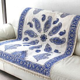 ガラムカール・ペルシャ更紗150cm長方形・手染め布イラン製ブルー系ペイズリー柄