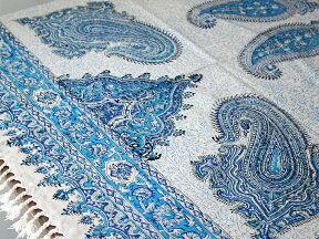 ガラムカールペルシャ更紗150cm長方形ブルー系ペイズリー柄マルチカバー/テーブルクロス