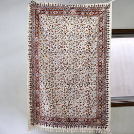 ペルシャ更紗・ガラムカール長方形150cmサイズ・手染め布イラン製アンバー系フラワー柄マルチカバー/テーブルクロス