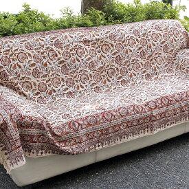ペルシャ更紗・ガラムカール(イラン・手染布)240cmサイズ長方形アンバー系フラワー柄/コットンマルチカバー・ソファーカバー・ベッドカバー