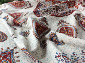 ペルシャ更紗・ガラムカール(イラン・手染布)240cmサイズ長方形アンバー系ペイズリー柄/コットンマルチカバー・ソファーカバー・ベッドカバー