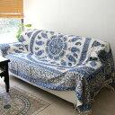 ガラムカール・ペルシャ更紗(イラン・手染布)280cmサイズ ブルー/ペイズリーコットンマルチカバー/ソファーカバー&ベッドカバー