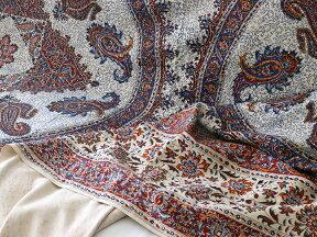 ペルシャ更紗・ガラムカール(イラン・手染布)280cmサイズ長方形アンティークデザイン・アンバー系ペイズリー柄・マルチカバー・ソファーカバー・ベッドカバー