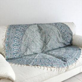 ガラムカール・ペルシャ更紗150cm円形ラウンド・アンティークデザイン・ブルー/フラワー